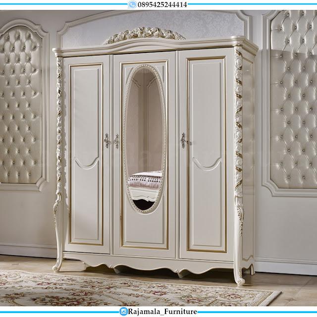 Lemari Pakaian Mewah Putih Ukiran Clssic Luxury Crown Carving Jepara RM-0421