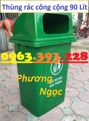 Thùng rác 90 Lít nắp hở nhựa HDPE, thùng rác cửa ngang, thùng rác công cộng TR90LNH4