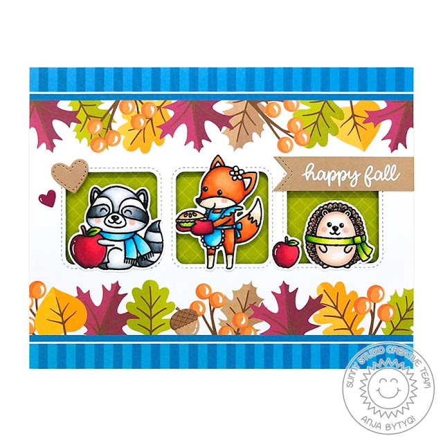 Sunny Studio Stamps: Woodsy Autumn Rustic Winter Dies Window Trio Dies Happy Fall Card by Anja Bytyqi