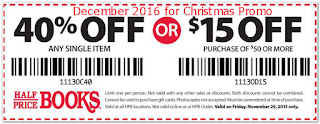 Half Price Books coupons for december 2016