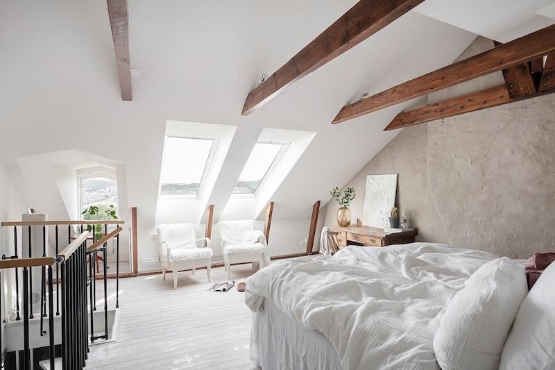 Dormitorio nórdico clásico