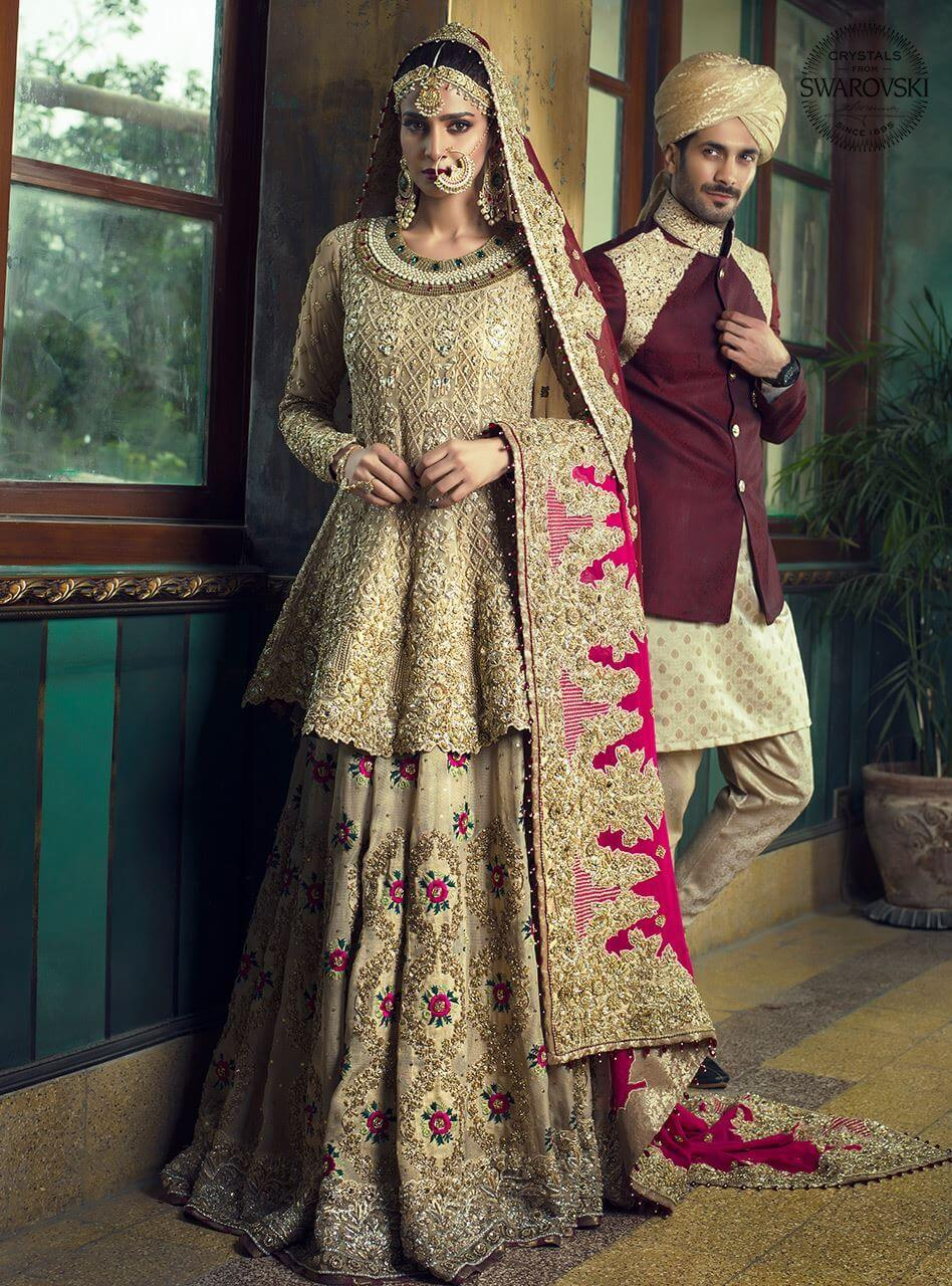 Zainab Chottani Mughal Glory Bridal Barat Dress Golden Peplum with Maroon Dupatta