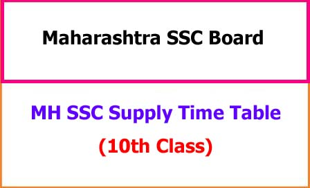 MH SSC Supplementary Time Table