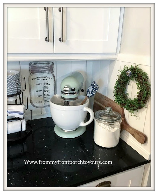 Farmhouse -Cottage- Kitchen-Pitaschio KitchenAid Mixer-Tongue and Groove Backsplash-DIY-From My Front Porch To Yours