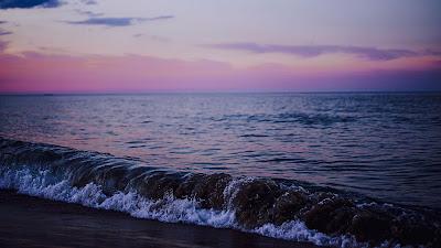 Wallpaper Pink Clouds, Twilight, Beach, Sea, Wave Hd