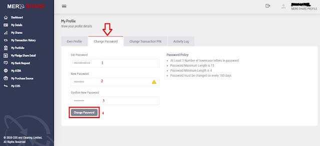 change the password of Mero share