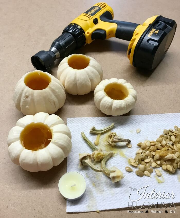 Thanksgiving Table Riser Mini Pumpkin Tealights