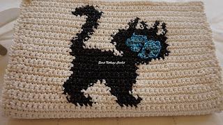 free crochet wallet pattern, free crochet cat tapestry pattern, free crochet clutch pattern