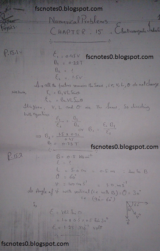 F.Sc ICS Notes: Physics XII: Chapter 15 Electromagnetic Induction Numerical Problems Asad Hussain