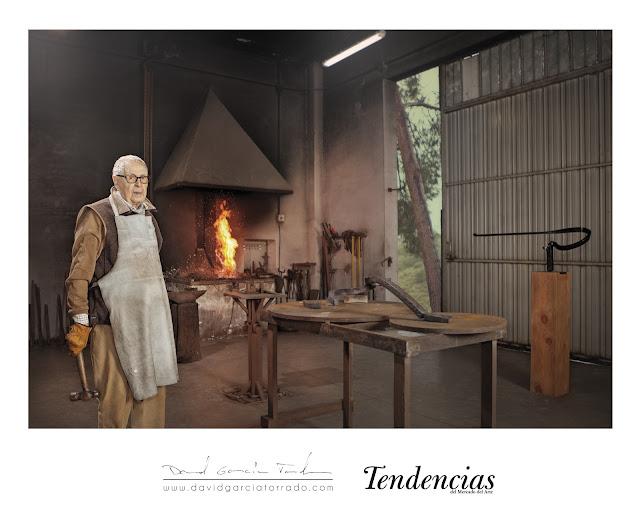 ULTIMO RETRATO DE MARTIN CHIRINO EN SU ESTUDIO POR DAVID GARCIA TORRADO FOTOGRAFO ASTURIANO