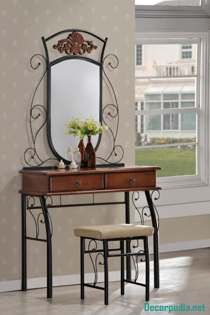 Modern dressing table design ideas with mirror, iron dressing table