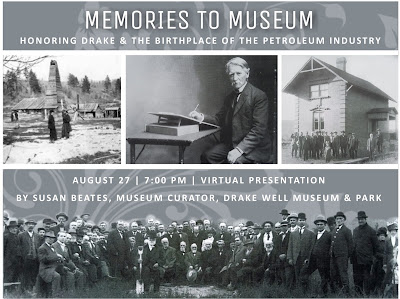 Collage of black and white photos showing scenes of people and oil wells. Text reads Memories to Museums