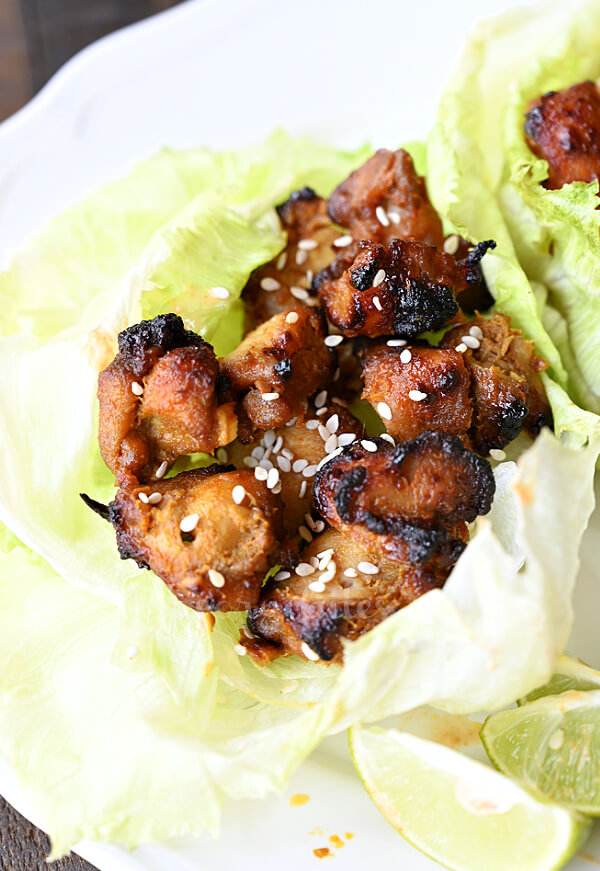 lettuce cups with thai coconut grilled chicken