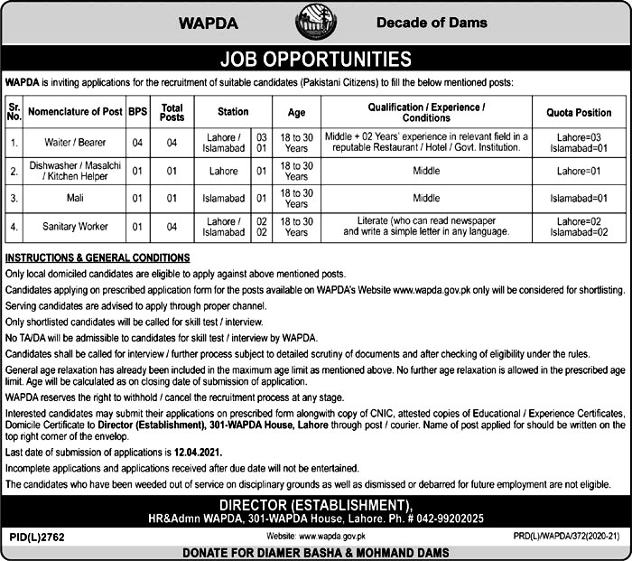 Latest Jobs in Water and power Development Authority Wapda 2021 - Download Application Form