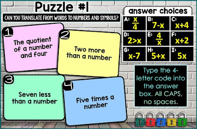 Translating Expressions, Equations and Inequalities Digital Math Escape Room