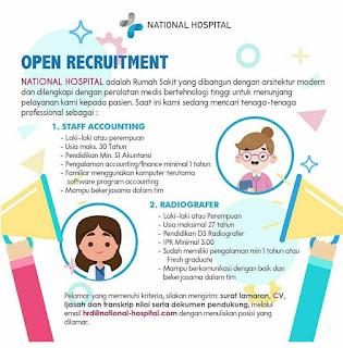 Lowongan kerja staff accounting dan Radiografer di National Hospital Surabaya 2020