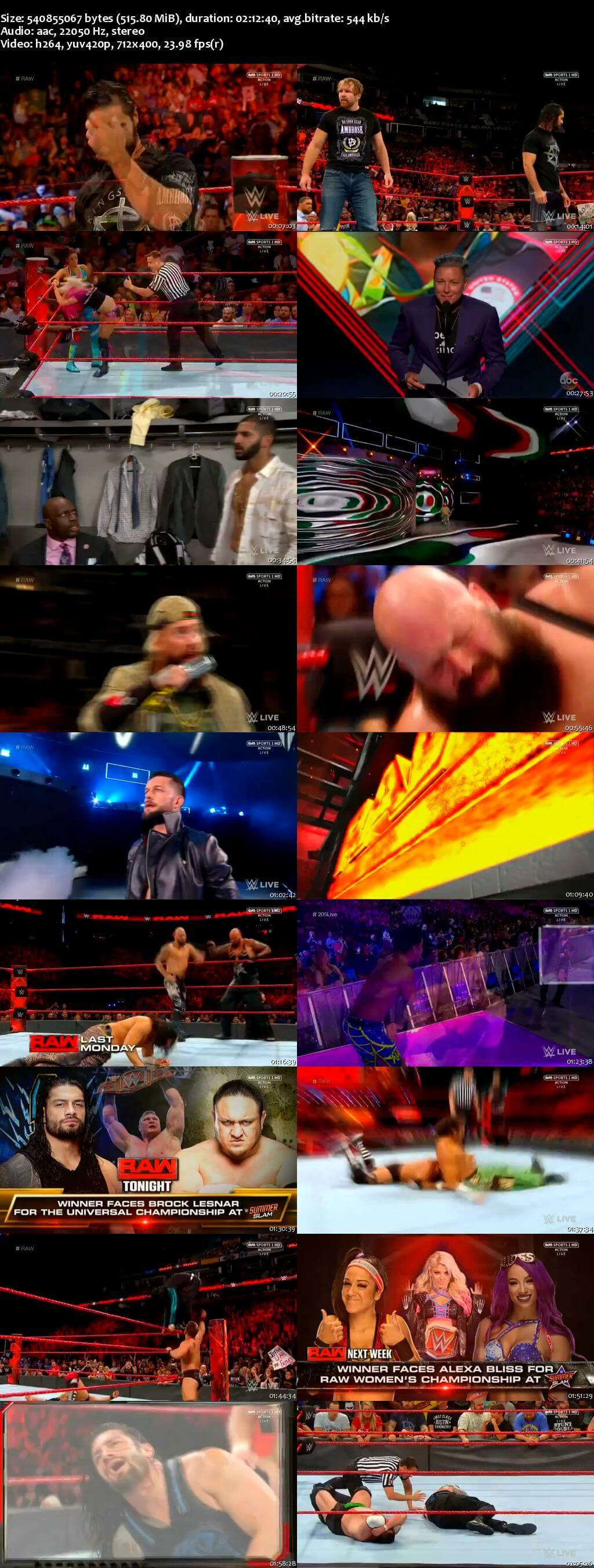 Screen Shot Of Wrestling TV Show WWE Monday Night Raw 17th July Watch Online Free Download