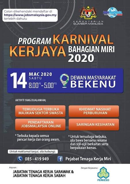 Program Karnival Kerjaya Bahagian Miri Anjuran Tenaga Kerja Sarawak & Tenaga Kerja Sabah
