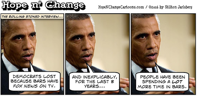obama, obama jokes, political, humor, cartoon, conservative, hope n' change, hope and change, stilton jarlsberg, fox news, bars, restaurants, rolling stone