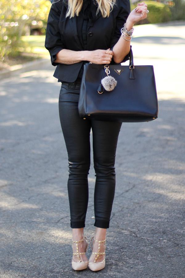 prada handbag fur pouf