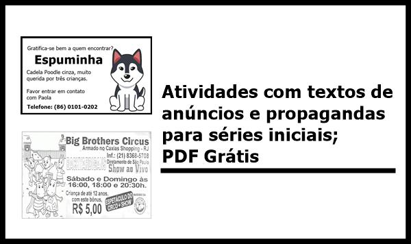 Atividades com textos de anúncios e propagandas para séries iniciais; PDF Grátis
