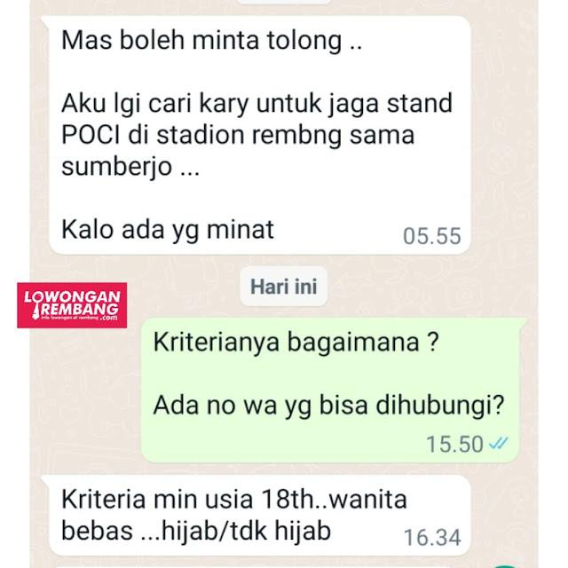 Lowongan Kerja Karyawati Stand Teh Poci Stadion Rembang