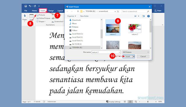 cara menambahkan teks pada gambar di ms word