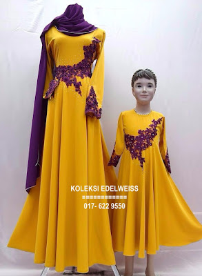DRESS SET IBU ANAK  MUSTARD