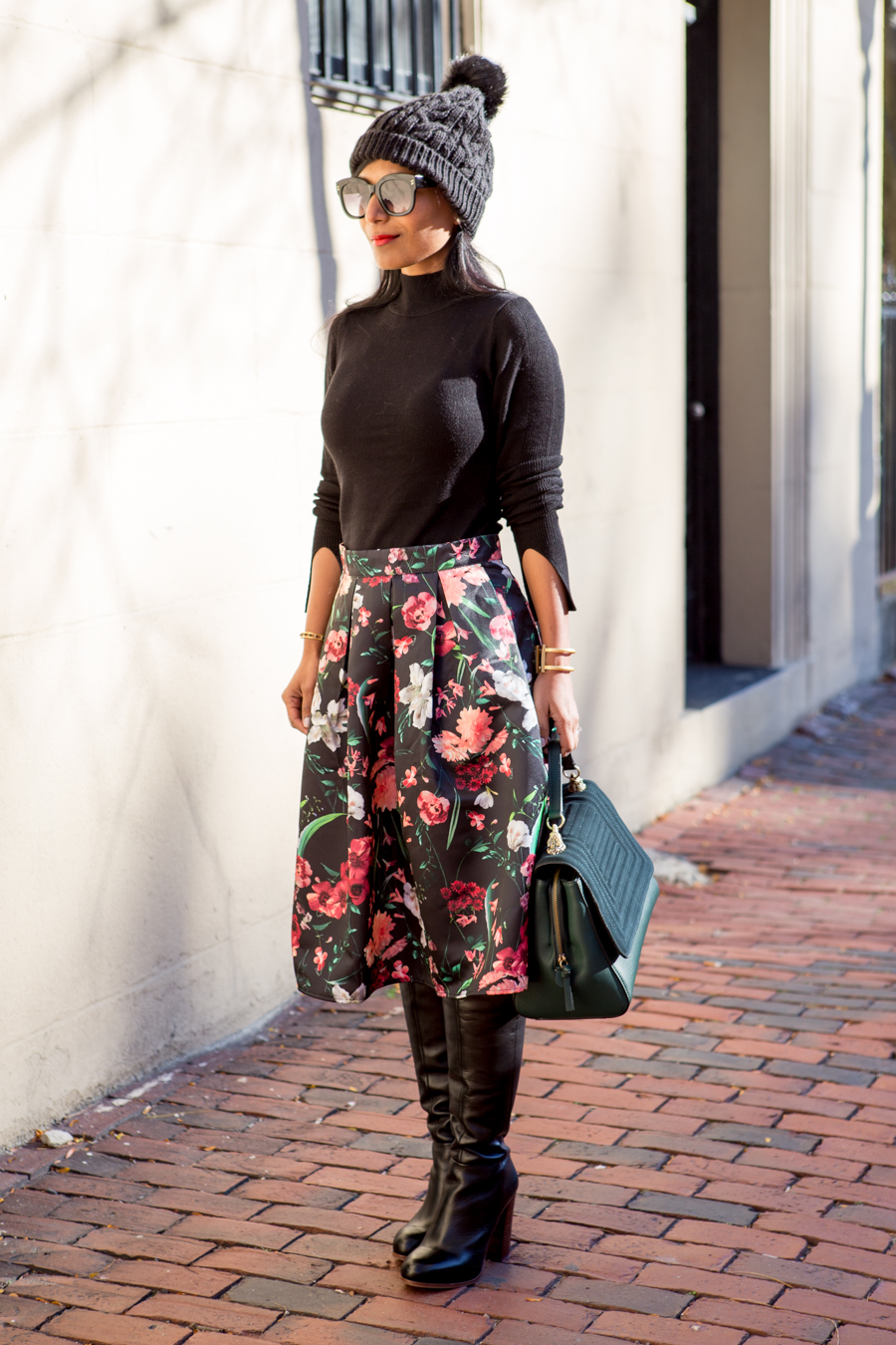 work style, office style, feminine style, midi skirt, aline skirt, dark florals, work satchel, corporate chic, forever 21, affordable style, zara, hinge, nordstrom sale, petite fashion, floral prints, tall boots, walking boots, winter boots