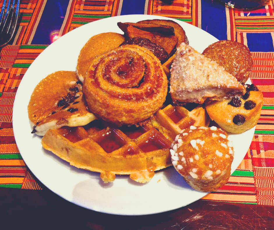 A plate piled with tasty pastries from Boma in Animal Kingdom Lodge in Walt Disney World