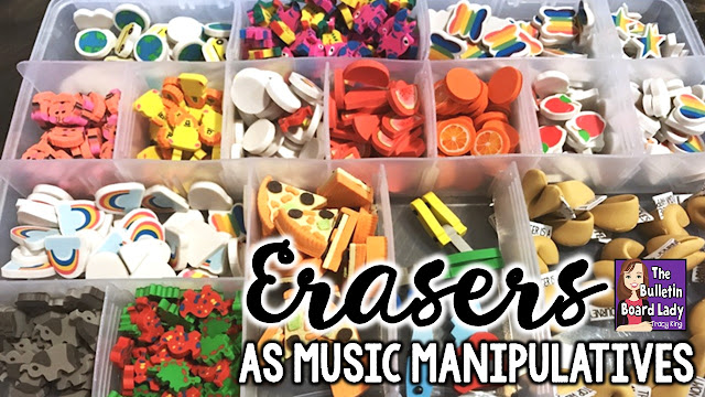 Mini erasers can be a valuable manipulative in the music classroom.  Use them for rhythm activities, pitch work and workstations.  Learn more and start collecting!