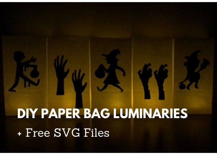 How to make easy DIY Halloween luminarties. These cute decorations are cheap to make with paper bags, tea lights, and cardstock.  Use these for home decor or for outdoor paths or porches if it's not raining. Need ideas for Halloween crafts?  These look cute!  Even kids can make them.  This also has free Halloween SVG files for your Cricut or Silhouette. #diy #halloween
