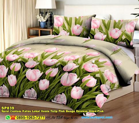 Sprei Custom Katun Lokal Xenia Tulip Pink Bunga Dewasa Hijau Pink