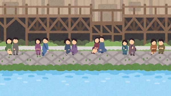 鴨川のイラスト(背景素材)