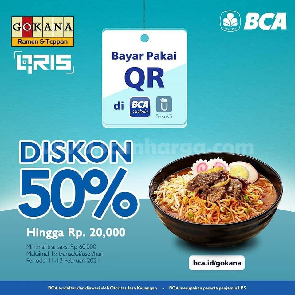 GOKANA Promo DISKON 50%! transaksi dengan Qris BCA Mobile dan Sakuku