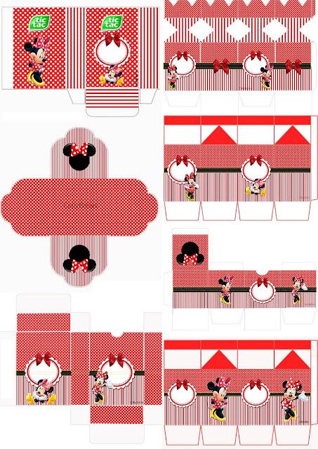 Minnie en Rayas Rojas: Cajas para Imprimir Gratis.