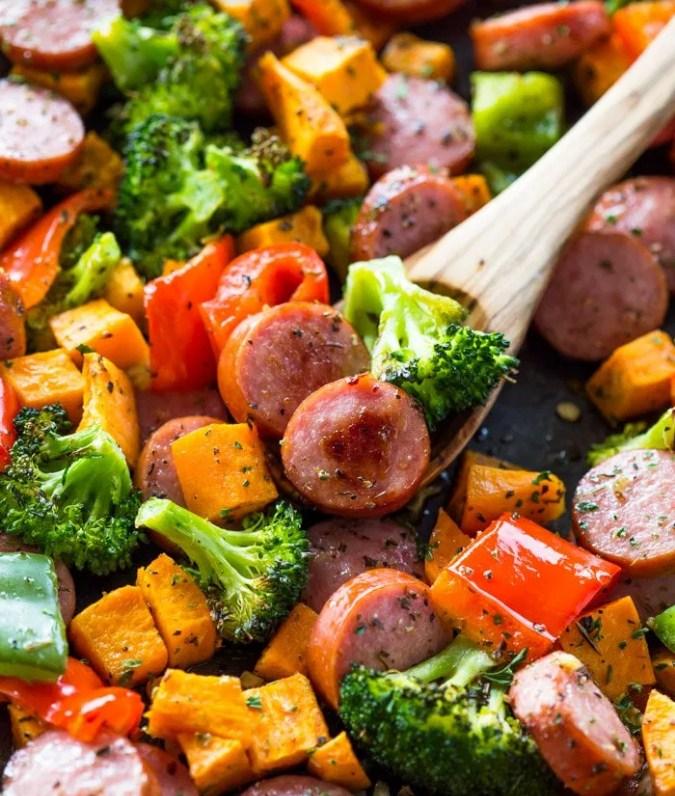 Recipe: 20 Minute Sheet Pan Sausage and Veggies