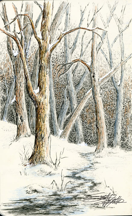 Sbwatercolors And Sketching Winter Scene Pen And Ink