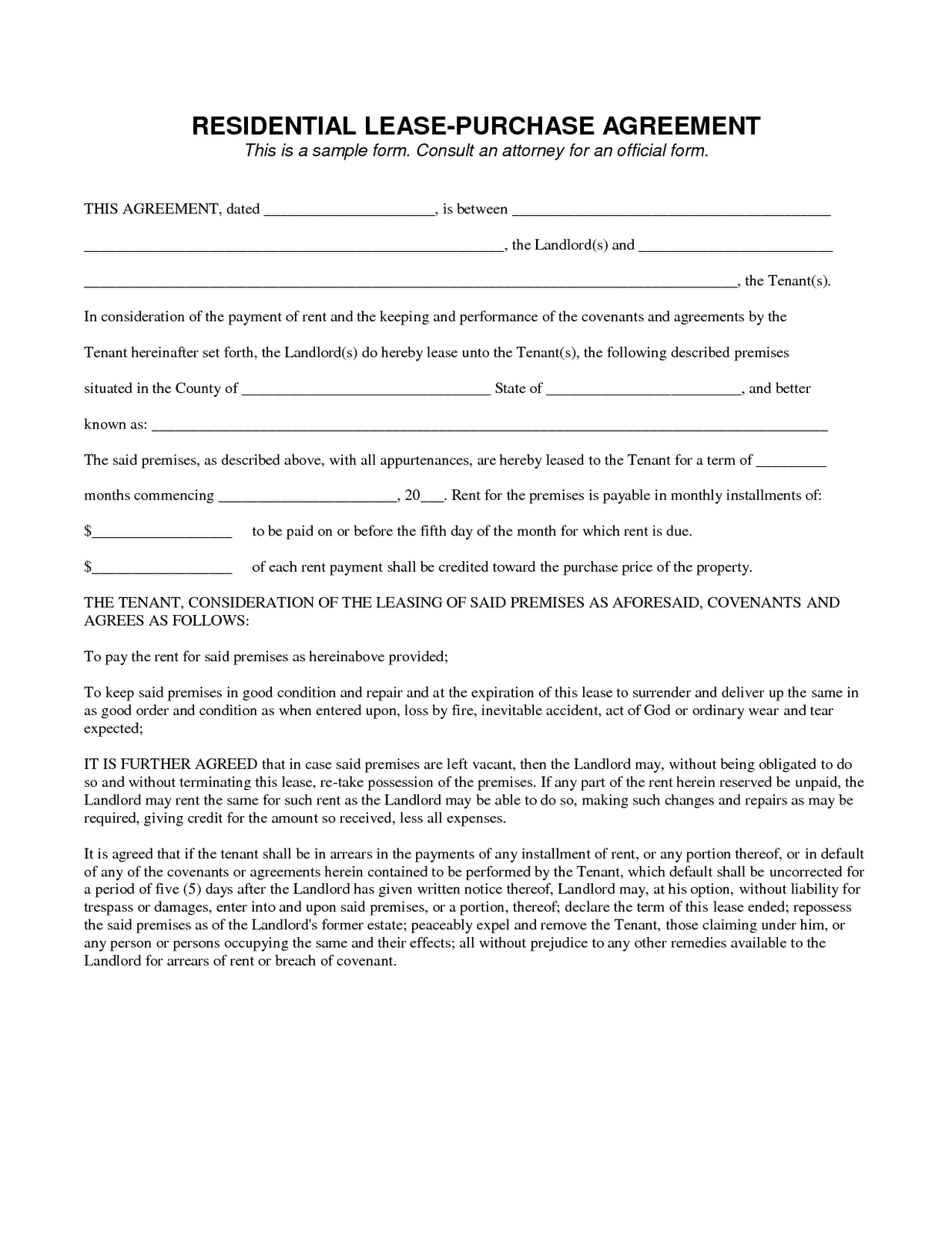 Notice of termination of tenancy agreement letter for Rent to buy agreement template