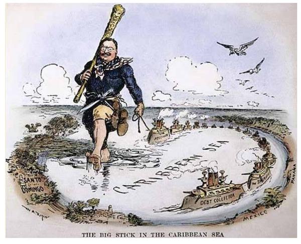 charge-acima-ironiza-politica-externa-norte-americana-durante-governo-de-theodore-roosevelt