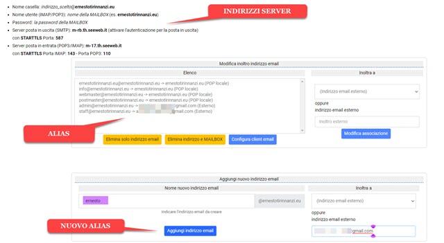 aggiungere indirizzo email esterno