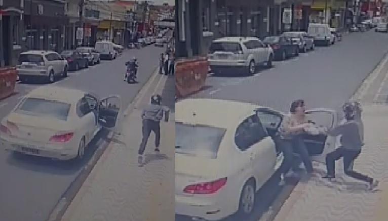 Mulher sofre tentativa de assalto em frente à agência bancária no centro de Pinhal