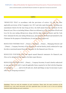 board resolution for approval of financial statements as per companies act 2013
