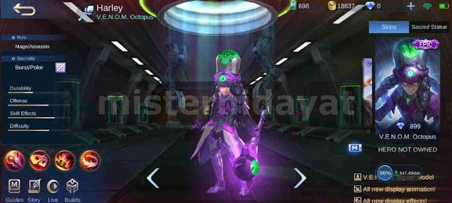 Mobile Legend telah merilis skin epic terbaru untuk hero mage Harley yang bernama Venom Oc Download Script Skin Harley Epic Venom Octopus Mobile Legends