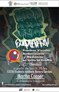 cartel del primer Foro de Cultura Visual en Guadalajara Prácticas visuales, graffiti