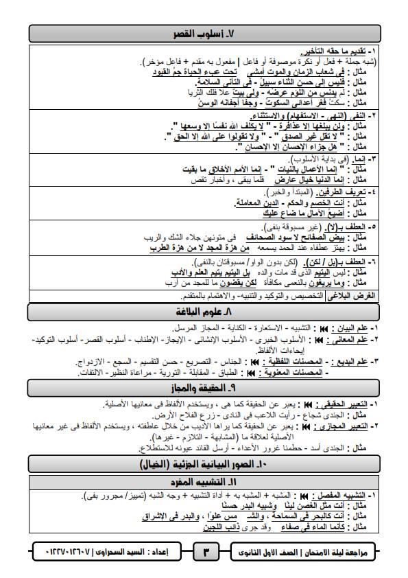 مراجعة ليلة امتحان اللغة العربية للصف الاول الثانوي ترم ثاني أ/ السيد السحراوي 3
