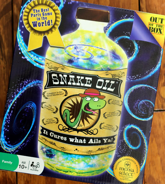 Snake Oil, Out of the Box Games Review, a fun game for the whole family and a great gift