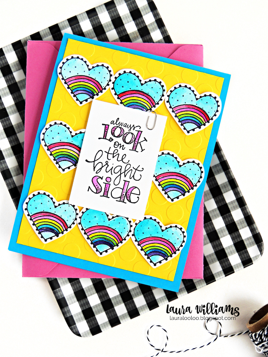Always Look on the Bright Side! Visit my blog to see cardmaking ideas and inspiration with these sweet rubber stamps from Impression Obsession. These rainbow themed images and sentiments are adorable for handmade cards, scrapbooking and paper crafting projects.