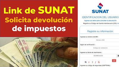 Utiliza el Formulario Virtual de SUNAT para solicitar la devolución de impuestos