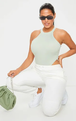 Shape sage green rib high neck sleeveless bodysuit
